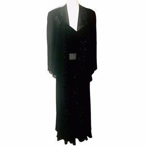 R&M Richards black 2 piece gown